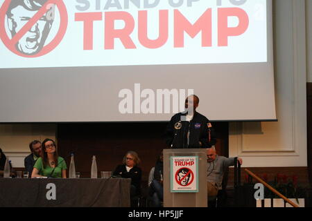 London, UK, 18th February 2017. Comedian Dane Baptiste addresses the Stand up to Trump Summit. A number of organisations - Stock Photo