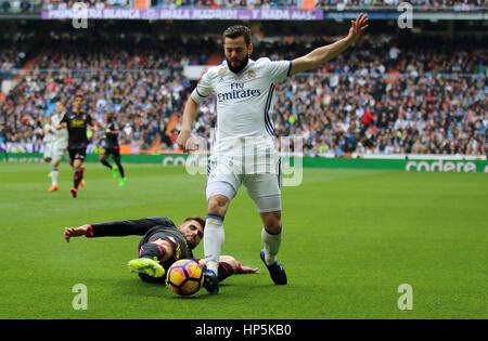 Madrid, Spain. 18th Feb, 2017. Nacho. La Liga Santander match between Real Madrid and Espanyol. Santiago Bernabeu - Stock Photo