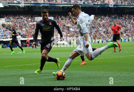 Madrid, Spain. 18th Feb, 2017. Cristiano Ronaldo. La Liga Santander match between Real Madrid and Espanyol. Santiago - Stock Photo