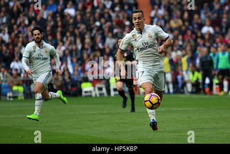 Madrid, Spain. 18th Feb, 2017. Lucas Vasquez running with the ball. La Liga Santander match between Real Madrid - Stock Photo
