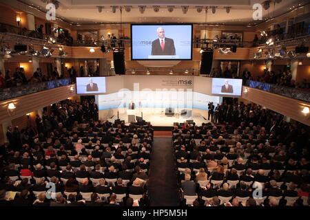 Munich, Germany. 18th Feb, 2017. U.S. Vice President Mike Pence addresses the Munich Security Conference February - Stock Photo