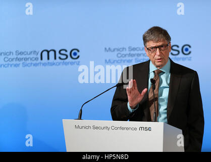 Munich, Germany. 18th Feb, 2017. Microsoft founder Bill Gates attends a talk at the second day of the 53rd Munich - Stock Photo