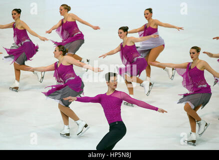 Zagreb, Croatia. 18th Feb, 2017. Ice skating team Berlin 1 of Germany perform at the Senior Short Program of 14th - Stock Photo