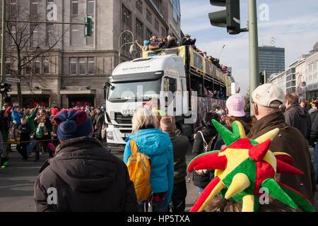 Berlin, Germany. 19th Feb, 2017. Carnival parade. Berlin, Germany. Credit: Michael Koenig/Alamy Live News - Stock Photo