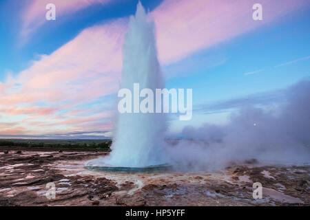 Strokkur geyser eruption in Iceland. Fantastic colors. Beautiful - Stock Photo