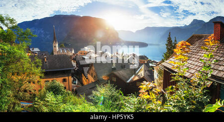 Scenic panoramic view of the famous mountain village in the Aust - Stock Photo