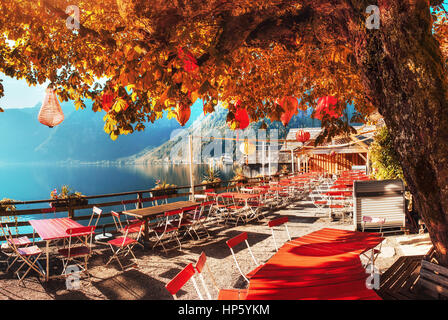 Summer cafe on the beautiful lake between mountains. Alps. Halls - Stock Photo