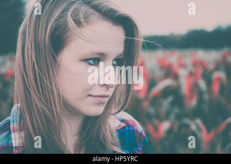 Sad depressed woman concept - Stock Photo