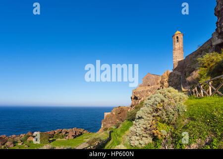 The Cathedral of Sant'Antonio Abate overlook to sea, Castelsardo, Sassari, gulf of Asinara , Sardinia, Italy - Stock Photo