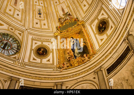 ceiling of sala capitular of girlada cathedral in sevilla spain - Stock Photo