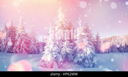 Mysterious winter landscape majestic mountains in  - Stock Photo