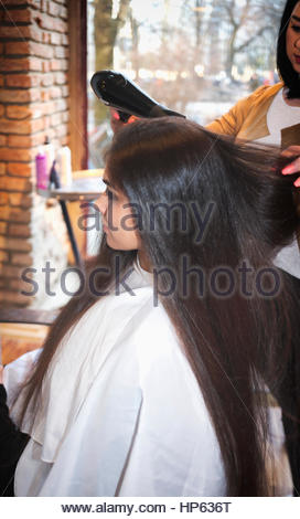 Hair dryer drying hair brush stylist hairdresser - Stock Photo