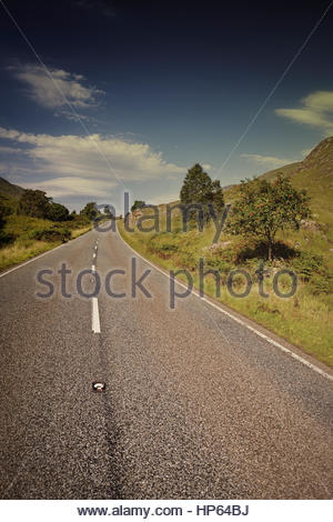 Country road curve perspective distance empty - Stock Photo