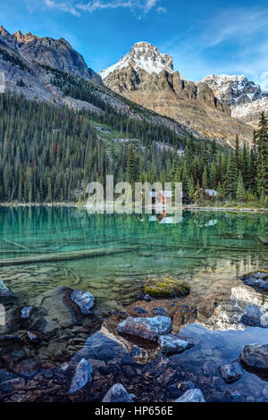 Mount Huber at lake O'Hara. On a clear and cold morning in Yoho National Park, British Columbia, Canada. - Stock Photo