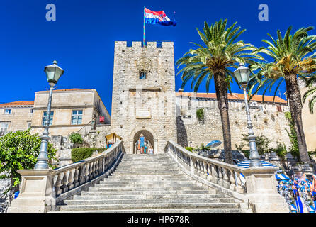 Tower Revelin at entrance in old city center in Korcula town, Croatia landmarks, - Stock Photo