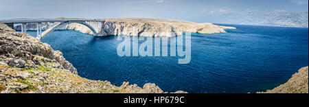 Panorama of Island Pag in Croatia, european travel destination. - Stock Photo