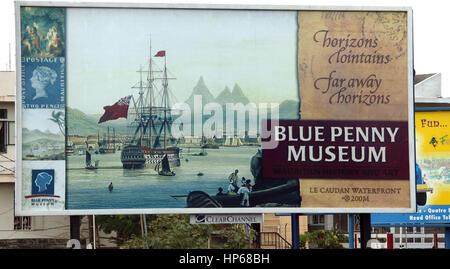 Port Louis, Blue Mauritius, Blue Penny Museum, Mauritius, advertising poster for Blue Penny Museum - Stock Photo