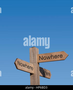 The road to nowhere. Nowhere to go.Sign post, sign, post, way, route, concept, no place to go.