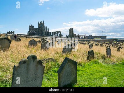 View of Whitby Abbey from the graveyard of the Church of Saint Mary - Stock Photo