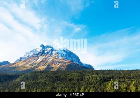 Mount Temple in autumn, Banff National Park, Alberta, Canada - Stock Photo