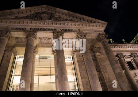 Nighttime close-up of famous Reichstag building in Berlin, Germany - Stock Photo