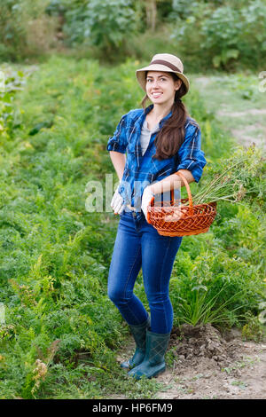 autumn harvesting concept. Happy smiling caucasian female farmer or gardener holding basket with carrots . Woman - Stock Photo