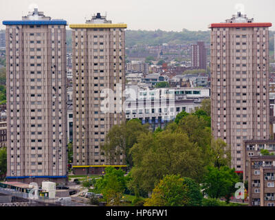 Ampthill housing estate near Mornington Crescent in London identified by the distinctive colour coded tower blocks - Stock Photo