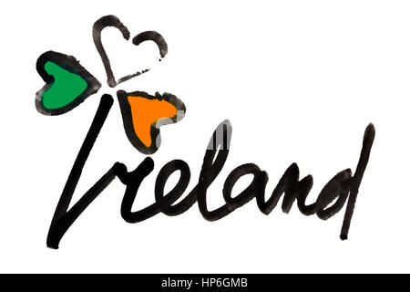 Ireland. Four leaf Irish clover with colors of the Ireland flag and lettering - Raster illustration - Stock Photo
