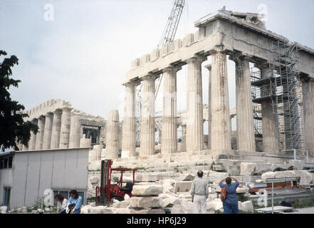 This photo, taken around 1990, shows a front view of the Acropolis in Athens, Greece. The Acropolis in Athens, Greece, - Stock Photo