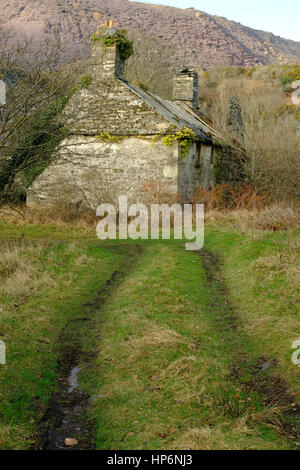 abandoned cottage in a mountain landscape in Wales - Stock Photo