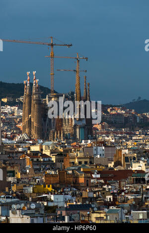 Barcelona city skyline seen from the top of Santa Maria del Mar, La Ribera, Barcelona, Catalonia, Spain, Europe. - Stock Photo