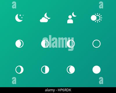 Seamless moon phase icons on green background. - Stock Photo