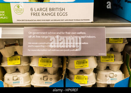 Sign in Waitrose supermarket says that free range hens are currently kept indoors. Due to a temporary housing order - Stock Photo