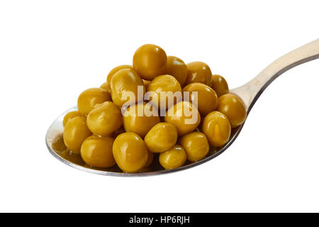 Spoon of pickled green pea on white - Stock Photo