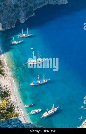 Mavi Tur Teknesi - Cruise woodeen boat - Stock Photo