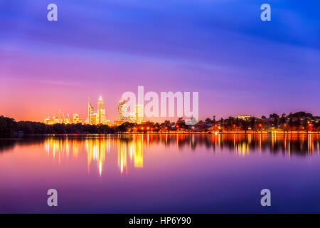 Perth Skyline And Lake Monger - Stock Photo