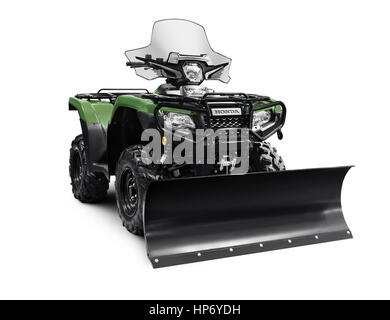 2017 Honda Rubicon Foreman 500 4x4 ATV with snow plow blade isolated on white background with clipping path - Stock Photo