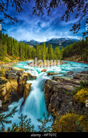 Sunwapta Falls, Alberta, Canada - Stock Photo