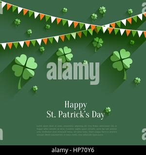 Happy St. Patricks Day - greeting card in flat style, modern design element - Stock Photo