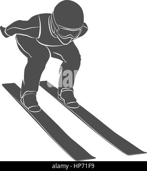 Silhouette jumping skier on a white background. Vector illustration. - Stock Photo