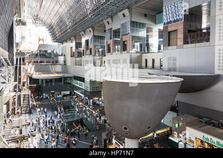 KYOTO, JAPAN - AUGUST 13, 2015: The main JR railway station in Kyoto, which is an exemple of modern Japanese architecture. - Stock Photo