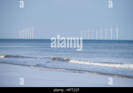 Wind turbines in the North Sea, Redcar, Teesside, North East England - Stock Photo