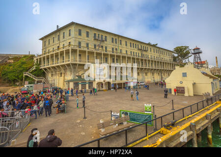 San Francisco, United States - August 14, 2016: Panorama of Historic landmark of Alcatraz prison with officer's - Stock Photo