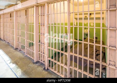 San Francisco, California, United States - August 14, 2016: interior of Alcatraz prison upper cells. Popular tourist - Stock Photo