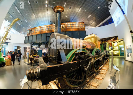 Liverpool and Manchester railway locomotive 'Lion' in Museum of Liverpool on Liverpool's historic waterfront, UK - Stock Photo