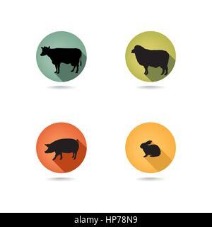 Farm animals. Vector set silhouette. Livestock icons. - Stock Photo