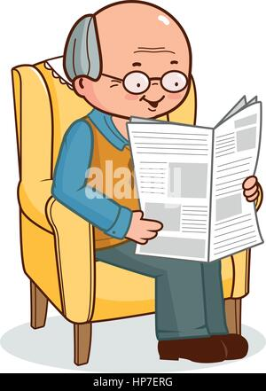 Vector Illustration of an old man sitting on his armchair at home and reading the newspaper. - Stock Photo
