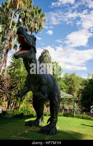 Roaring front standing Spinosaurus display model in Perth Zoo as part of Zoorassic exhibition - Stock Photo