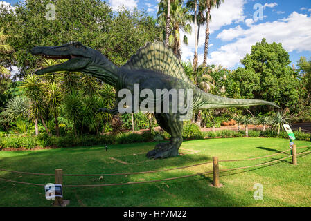 Standing Spinosaurus display model in Perth Zoo as part of Zoorassic exhibition - Stock Photo