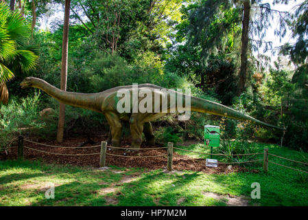 Standing Apatosaurus display model in Perth Zoo as part of Zoorassic exhibition - Stock Photo
